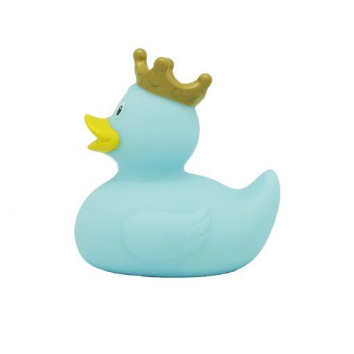 blue crown rubber duck