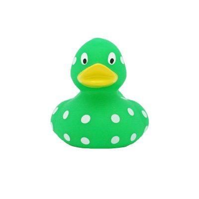 green white dots rubber duck