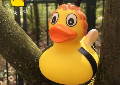 Bee Rubber Duck enjoying spring in the Vondelpark. The sun shines and everything is getting green again!
